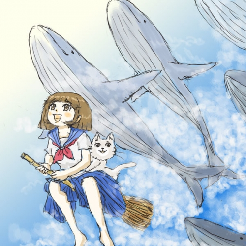 飛行クジラに遭遇
