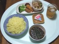 7/13 昼食 つけめん、肉巻ポテト、ささみチーズフライ、キャベツメンチ、きゅうりのザーサイ和え