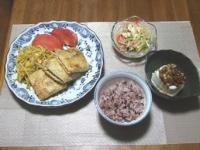 7/13 夕食 いなり餃子、春雨サラダ、冷奴、黒米ご飯