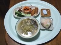 7/19 昼食 野菜と豚肉のスープ、肉巻ポテト、ささみチーズかつ、きゅうり、レーズン入り酢人参