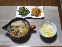 7/19 夕食 野菜と鶏手羽のスープ、いんげんのザーサイ炒め、人参ときゅうりのサラダ、ベビーチーズ