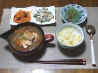 7/22 夕食 鮭入り野菜スープ、いんげんの白和え、酢にんじんレーズン入り、刺身こんにゃく、とうもろこしご飯、ベビーチーズ