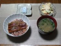 7/25 夕食 うな丼、ポテトサラダ、しじみの味噌汁、ベビーチーズ