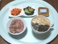 7/26 昼食 崩し豆腐スープ、ナスと鶏のケチャ味噌炒め、きゅうり漬け、ベビーチーズ、黒米ごはん