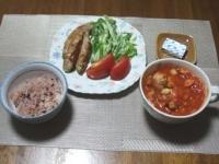 7/27 夕食 オクラの豚肉巻、ミネストローネスープ、ベビーチーズ、黒米ごはん