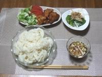 7/31 夜食 そうめん、鶏から揚げ、蒸しアボカド