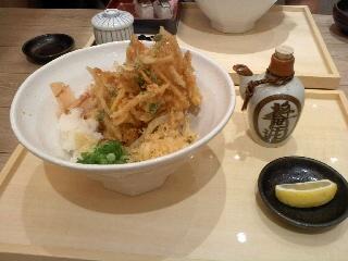 6/11 昼食 桜えびかき揚げ醤油うどん 金両