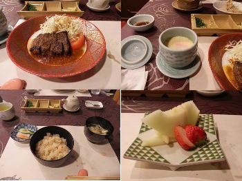 4/30 夕食 クジラのステーキ、茶わん蒸し、うに炊き込みご飯、味噌汁、お新香、デザート  プラザホテル下関