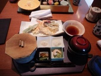 7/23 ランチ 海老と季節野菜天ぷら御膳  青柚子