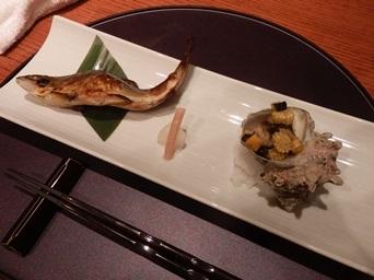 7/30 3回忌会食 焼き物 鮎のしょっる焼き、さざえ味噌山椒焼き   青柚子