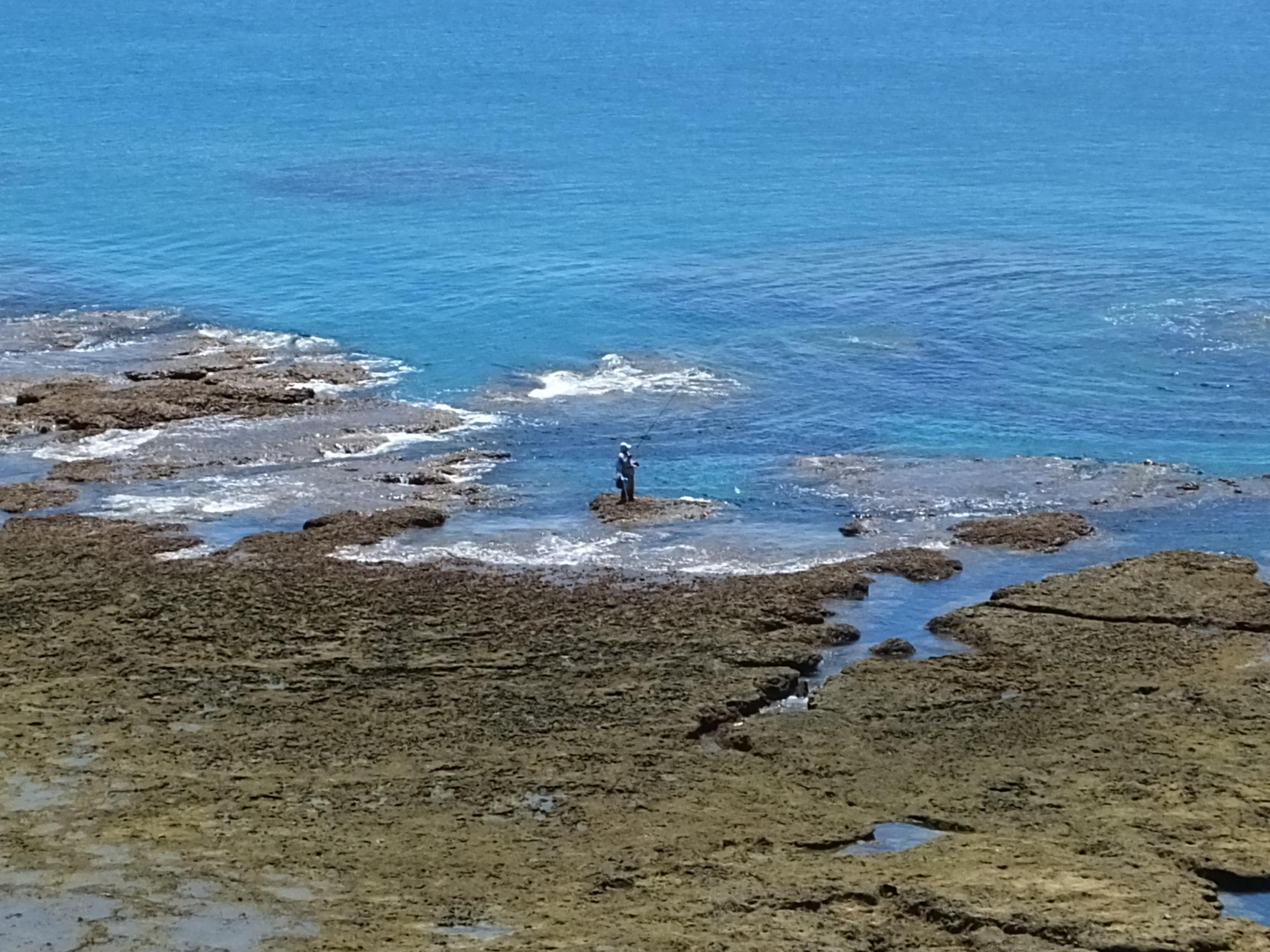 土浜で釣り