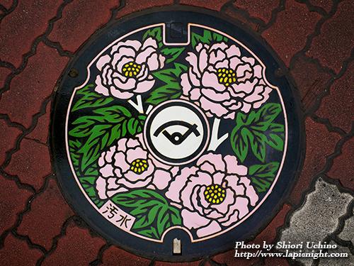 福島県 須賀川市 マンホール 牡丹
