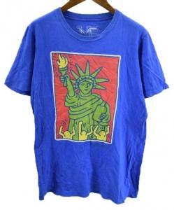 MF USA製 キースヘリング 自由の女神柄 半袖 Tシャツ S 青 赤 緑 黄 激安% メール便可 【BIG2nd大阪店】【170619】古着【中古】【メンズ】mts2045