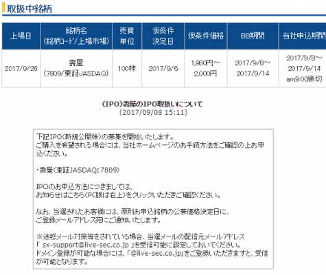 ライブスター証券IPO取扱い壽屋