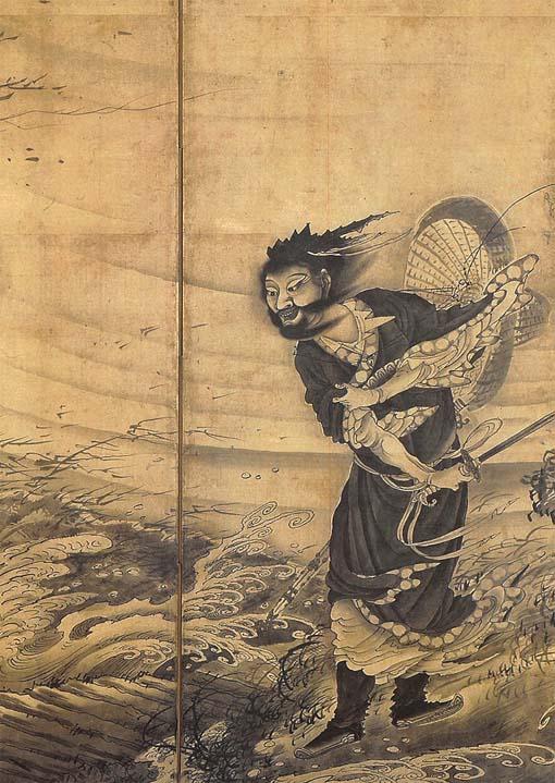 201708 Boston 曾我蕭白『風仙図屏風 』部分 1764年 18cm bubunn soga-shohaku--transcendent-attaking-a-whirlwind-min