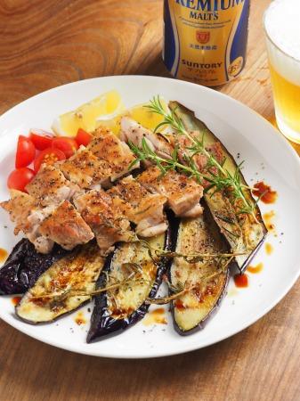 鶏もも肉と茄子のローズマリー006