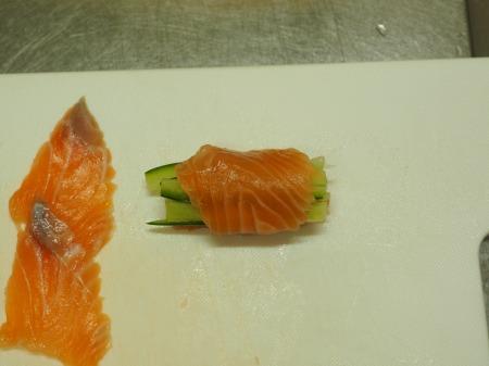 サーモン刺身の塩麹漬け034