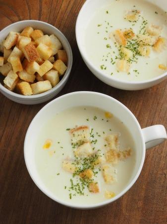 コーンスープ、手作りクルトン005