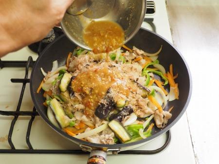 野菜たっぷり豚味噌炒め045