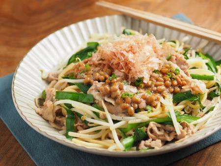 にらもやし納豆スパゲティ001