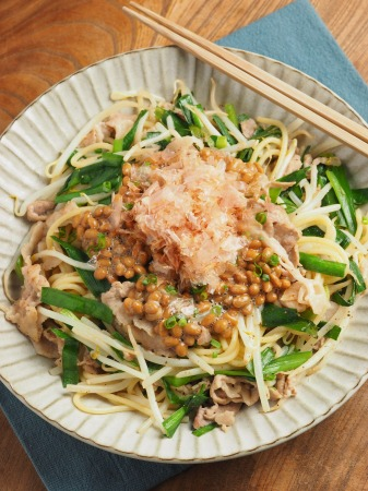 にらもやし納豆スパゲティ012