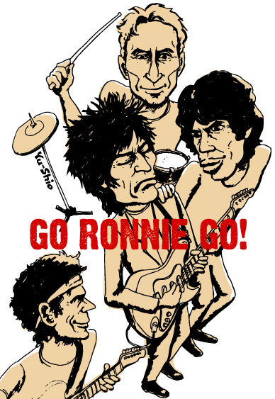 Rolling Stones Ronnie Wood caricature likeness