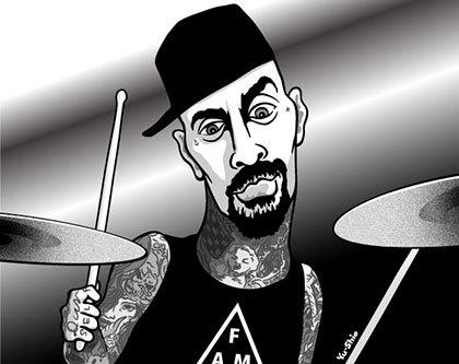 Travis Barker caricature likeness