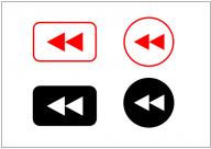 巻き戻しボタンのフリー素材テンプレート・画像・イラスト