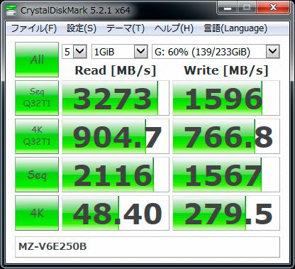【CrystalDiskMark 5.2.1】SSD 960 EVO MZ-V6E250B
