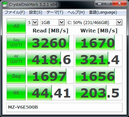 【CrystalDiskMark 5.2.1】SSD 960 EVO MZ-V6E500B