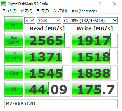 【CrystalDiskMark 5.2.2】SSD 960 PRO M.2 MZ-V6P512B/IT