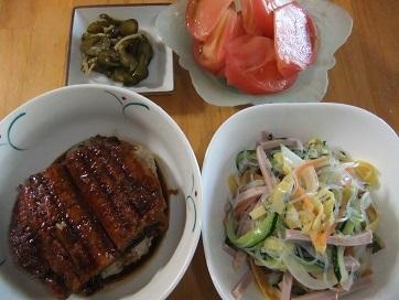 鰻丼、春雨サラダ、トマト、Qちゃん