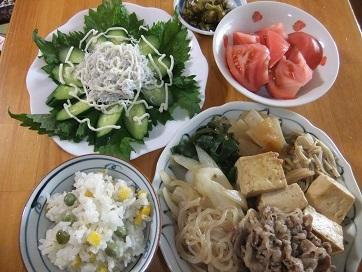 すき焼き風、胡瓜シラスサラダ、ぶんどう飯