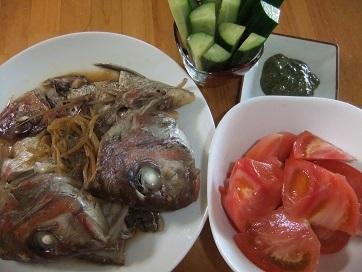 天然鯛粗、トマト、胡瓜
