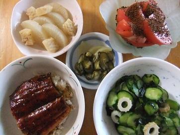 鰻丼、酢物、大根とイカ煮