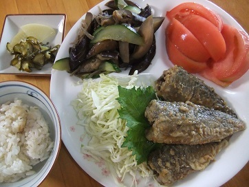 鯵南蛮、ナス雑魚、トマト