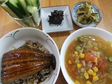鰻丼、トマトスープ、胡瓜
