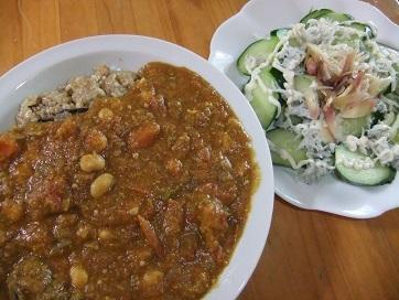 カレー、胡瓜サラダ