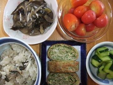 鯛めし、ナス雑魚、オクラ卵焼き