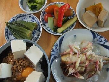 塩鯖、納豆飯、煮物