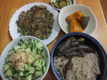 ナス素麺、冷汁、オクラ餅