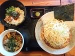 油かすつけ麺、ラー油ご飯セット@実咲庵