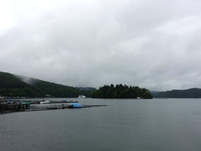 雨の野尻湖
