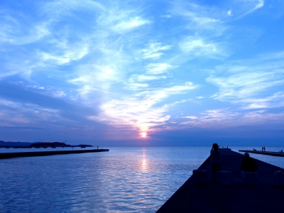 館山夕日桟橋の夕日