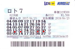 ロト7 第218回