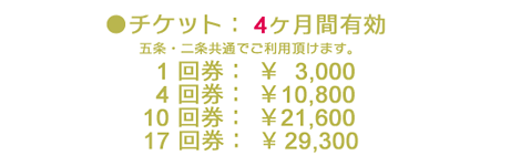 チケット制 RAVISTA二条スタジオの料金・クラス内容 京都市役所 寺町御池