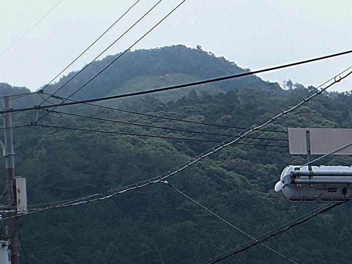 市街地から大文字山を仰ぐ․鉄線が多いい・・・