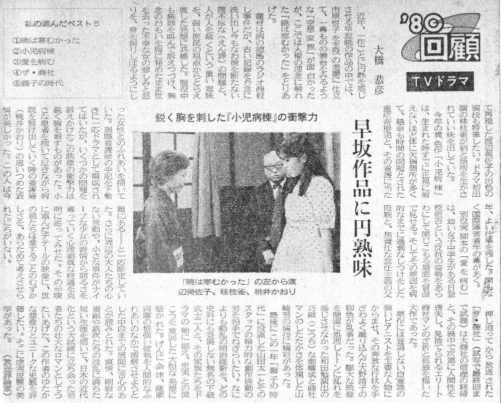 早坂暁 1980年TV回顧記事