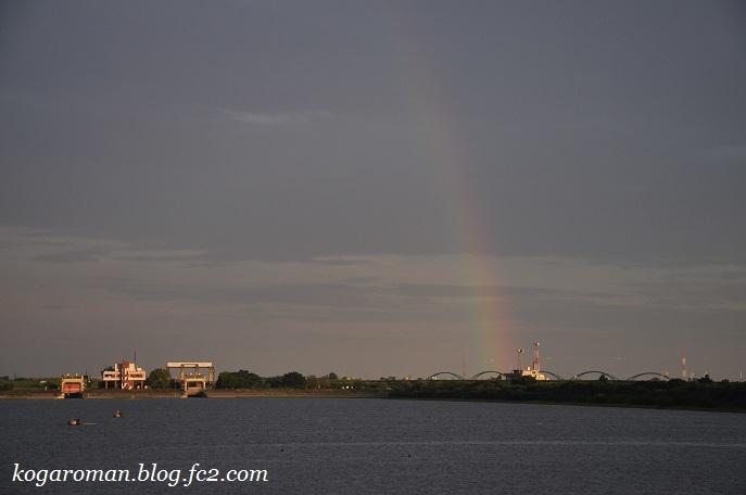 谷中湖に虹