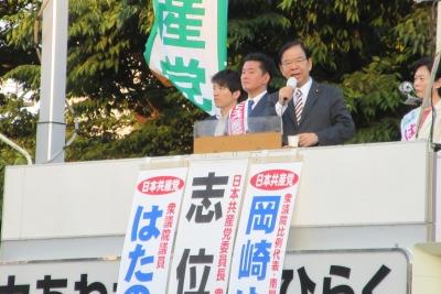 桜木町の志位委員長
